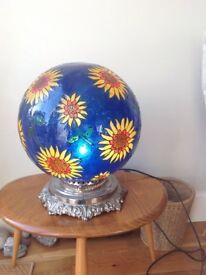 Glass globe sunflower lamp