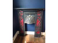 Art Noveau cast iron fireplace..