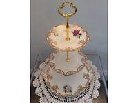 3 Tier Bone China White/Gold Cake Stand