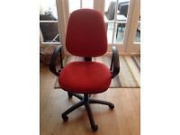 Red office chair, good condition