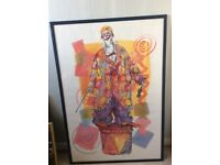 Framed colourful clown printed picture