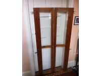 Pair of Reclaimed Wooden Doors with Glass and Knobs & Hinges