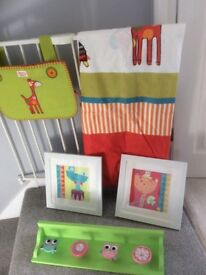 Nursery accessories including tie top curtains, two pictures, shelf and bag to hang on cot.