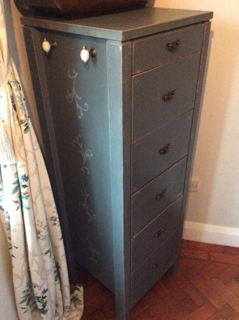 Hand painted tall boy chest of drawers