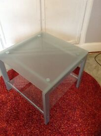 Frosted glass and grey metal table