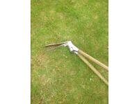 Long handled lawn shears, plus pair of grass shears