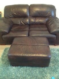 2 seater leather sofa and footstool