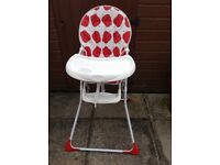 Baby high chair. Rarely used. Seven years old