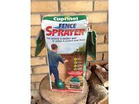 Quantity of Cuprinol sprayable fence paint and sprayer