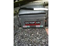 BRAUER OCTOPLUS Aliminium fishing box seat extendable legs , grey leather top seat ,Drawers.