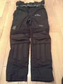 New unworn Euro motorcycle trousers ,black,small.