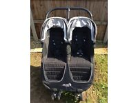 Baby jogger city mini double pushchair and carrycot.