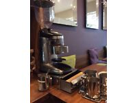 Fracino commercial coffee grinder and knock out drawer in brushed steel