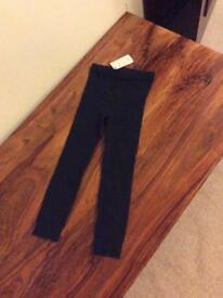 Mothercare girls black knitted leggings age 5-6 years brand new