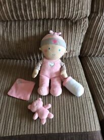 Chad valley soft doll with teddy, blanket and bottle.