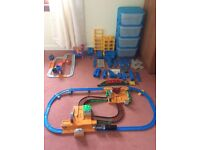 complete train sets extra train track along with storage unit