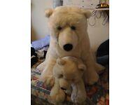 Large mummy and baby polar bear mummy bear stands around 2ft tall