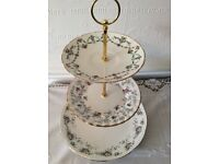 Purple/lilac Vintage Bone China 3 Tier Cake Stand