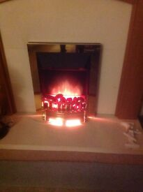 Electric fire - plug in brass surround