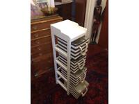 Set of wooden and canvas drawers