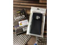 Samsung s9 carbon fibre cover brand new and 3 x ghost shield screen protectors