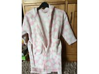 Next girls pink and white fluffy love heart dressing gown