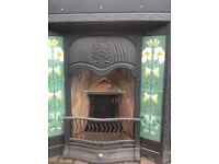 Victorian cast iron fireplace with beautiful inset ceramic tiles