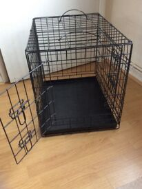 Black collapsible dog crate
