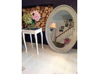 Vintage large oval shabby chic wooden ornate mirror