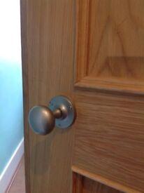 Satin chrome mortice knob door handles