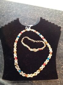Beautiful matching necklace and bracelet set with semi precious stones, would make a lovely gift