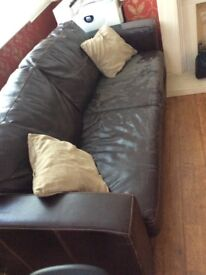 Brown sofa bed 2.5 seater.