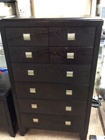 Black solid wood chest of drawers