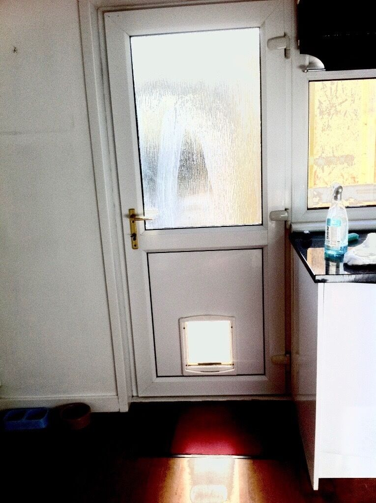 White Pvc Double Glazed External Door With Dog Flap In Excellent