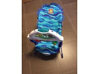 FISHER PRICE BABY BOUNCER WITH AQUARIUM AND CALMING VIBRATIONS