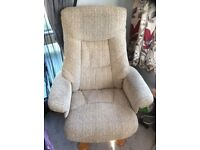 Beige cloth recliner massage /swivel/recliner chair, comes with footstool. Excellent cond. £125