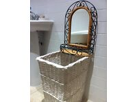 Shabby Chic Mirror & Large Wicker Laundry Storage Basket / Can Deliver
