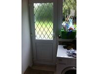 UPVC DOUBLE GLAZED BACK DOOR WITH FRAME & LEADED GLASS - can deliver locally