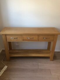 3 drawer solid light oak console table sideboard