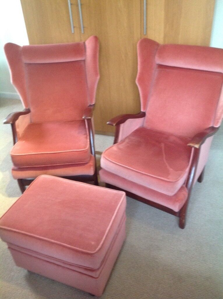 Two Wing Back Armchairs and Footstool
