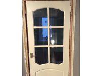 6 panel glass solid white door