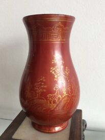 Antique Chinese Oriental Lacquer Vase with Gold Painted