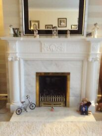Gas fire, hearth, surround and fireplace