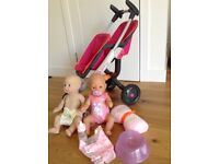 Quinny Double Baby buggy with Baby Born and other doll