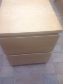 Ikea Malm 2 Drawer Bedside Unit in Birch (in good condition)