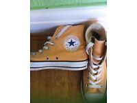 Converse Orange & White All Stars High Rise Size 5 Trainers