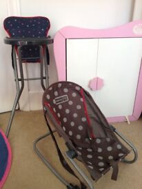 Baby Annabel cupboard and toy mamma and papas bouncer and toy highchair