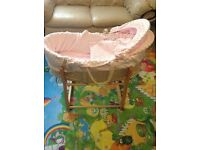 Moses basket with rocking stand. Excellent condition.