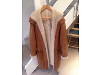 Sheepskin duffle coat with hood - Large