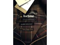 Barbour Beaufort wax cotton jacket size 40 new with tags